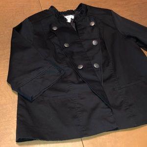 Open Front Double Lapel Black Jacket Blazer